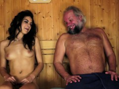 Teenage beauty pounded by horny pensioner