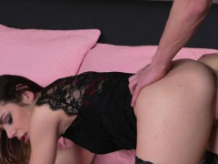 Milf in stockings gets creampie after sex