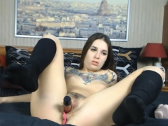 Cute Horny Teen Fucks Pussy And Ass With Big Dildo