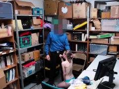 Tight shoplifter pounded by LP officer in the back office