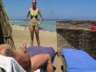 Nude Beach - Hot Pierced Big Boob Brunette Blowjob