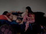 Emily and Sami watch stepdads porn DVD