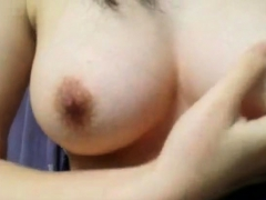 Japanese girl shows her huge boobs on a webcam