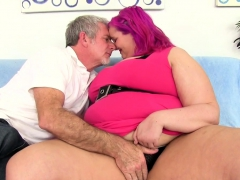 Sexy Bbw And A Mature Guy Kiss Each Other He Sucks Her Tits