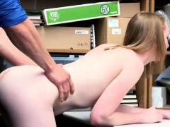 Petite skinny shoplifter punish fucked by the security