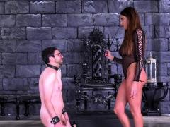 Brunette Pornstar Ballbusting With Cumshot