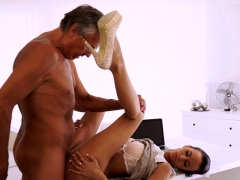 OLD4K. Tanned brunette facialized after amazing sex with...