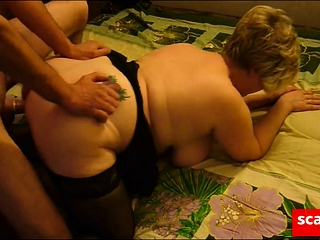 Friend fucks mature fat girl in front of her cuckold husband