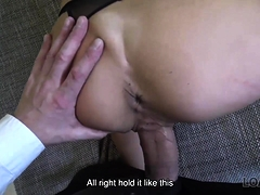 LOAN4K. Long-haired brunette Inga comes to a small loan