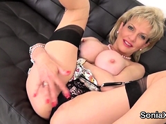 Adulterous British Milf Lady Sonia Pops Out Her Huge Globes
