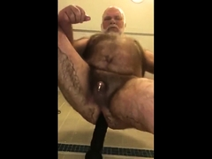 Hairy Bear Rides Big Dildo