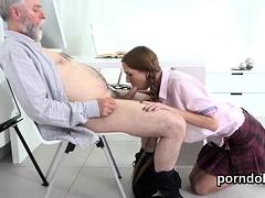 Sensual Schoolgirl Gets Teased And Screwed By Elderly Lectur