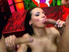 Busty brunette jolee gets anal gangbang and cums