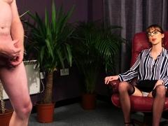 Cfnm domina in glasses spreads legs