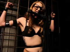 Restrained submissive skank electro play