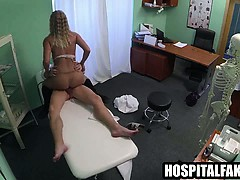 Sexy amateur blonde patient creampied by her doctor