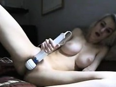 Sexy blonde toys and sucks bf swallows cum