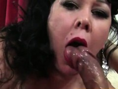 Big boobs BBW lady Amanda eats cum after good sex